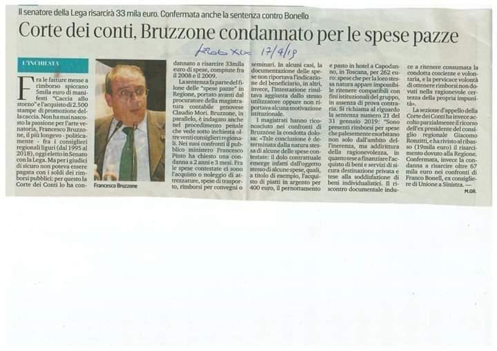 Senatore Bruzzone (Lega) condannato per spese pazze